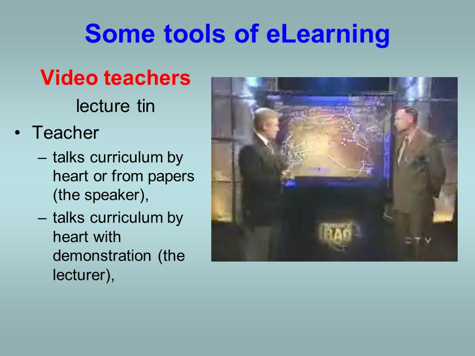 Video teachers lecture tin Teacher –talks curriculum by heart or from papers (the speaker),