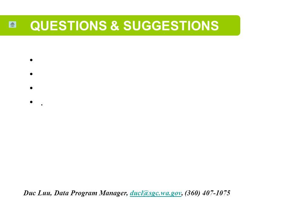 QUESTIONS & SUGGESTIONS Duc Luu, Data Program Manager, ducl@sgc.wa.gov, (360) 407-1075ducl@sgc.wa.gov.