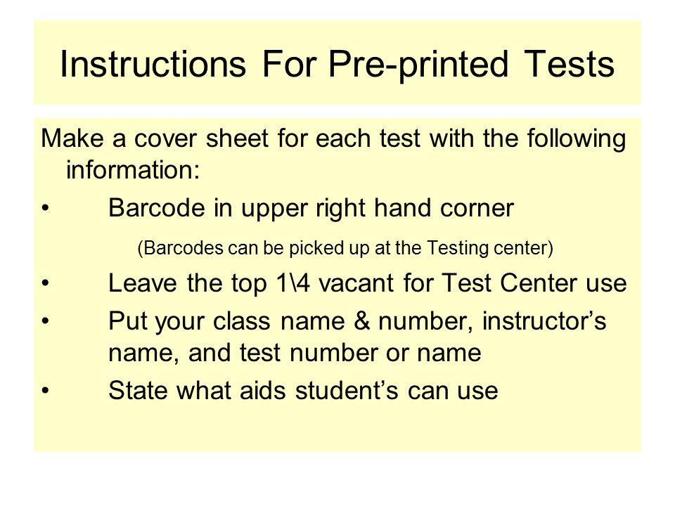 Pre-printed Test Samples Computer Scored TestWrite-on Test Name________________ CHEM 123 McPherson Write – On Test # 1 Can use any calculator and a Periodic Table Hum 101 Davis Picture Quiz Test 5 Do not write on this test 10 10   005 Leave room for us to put the symbols and numbers