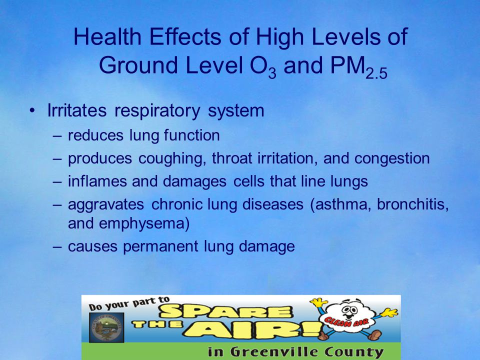 Health Effects of High Levels of Ground Level O 3 and PM 2.5 Irritates respiratory system –reduces lung function –produces coughing, throat irritation, and congestion –inflames and damages cells that line lungs –aggravates chronic lung diseases (asthma, bronchitis, and emphysema) –causes permanent lung damage