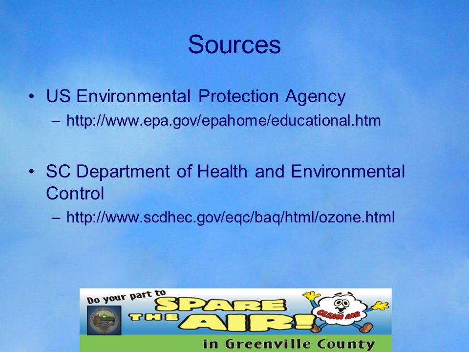 Sources US Environmental Protection Agency –http://www.epa.gov/epahome/educational.htm SC Department of Health and Environmental Control –http://www.scdhec.gov/eqc/baq/html/ozone.html