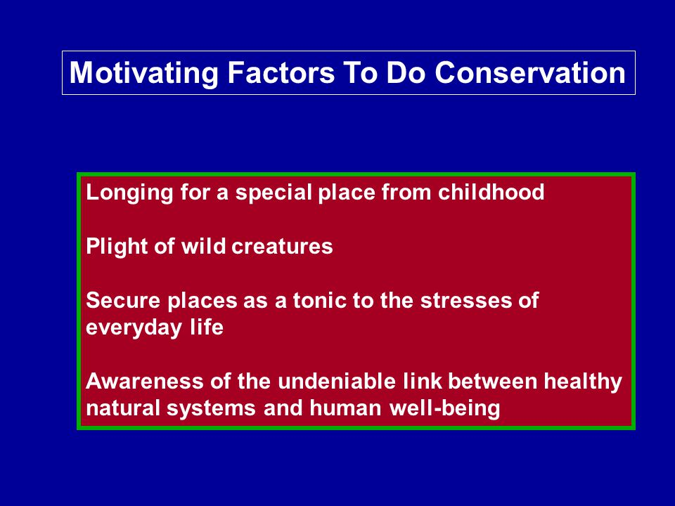 Motivating Factors To Do Conservation Longing for a special place from childhood Plight of wild creatures Secure places as a tonic to the stresses of everyday life Awareness of the undeniable link between healthy natural systems and human well-being
