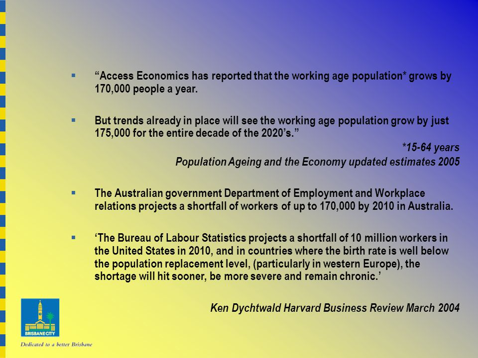  Access Economics has reported that the working age population* grows by 170,000 people a year.
