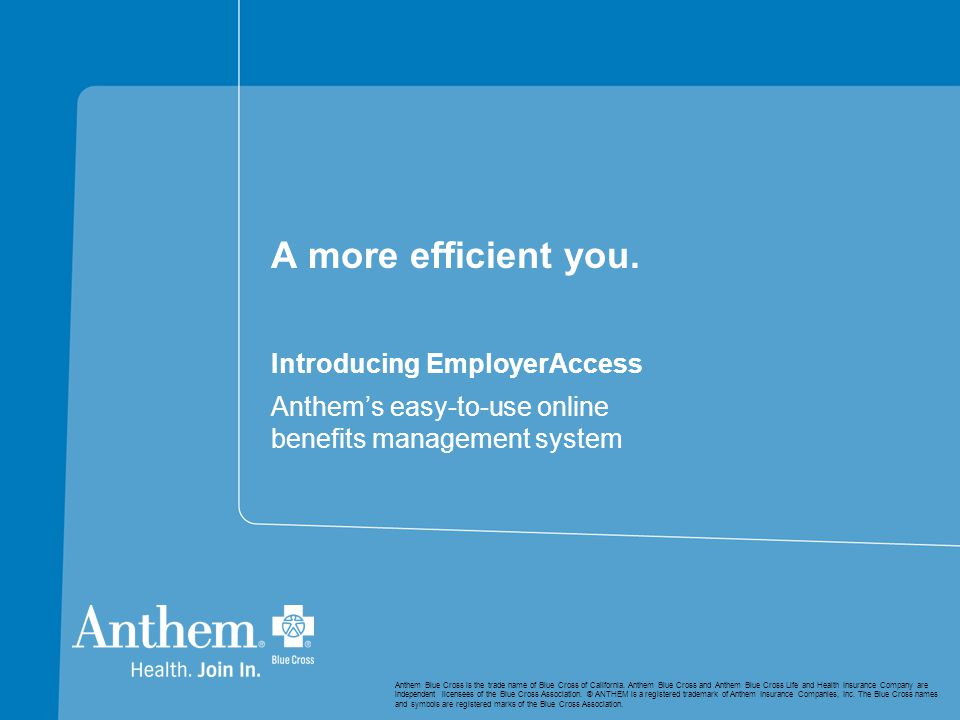 A more efficient you. Introducing EmployerAccess Anthem's easy-to-use online benefits management system Anthem Blue Cross is the trade name of Blue Cr