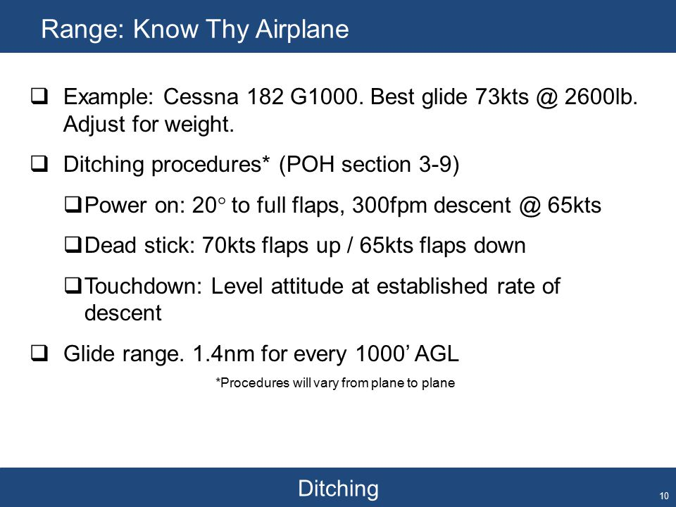 Ditching Range: Know Thy Airplane 10  Example: Cessna 182 G1000.