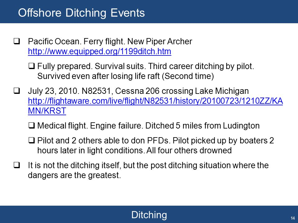 Ditching Offshore Ditching Events 14  Pacific Ocean.