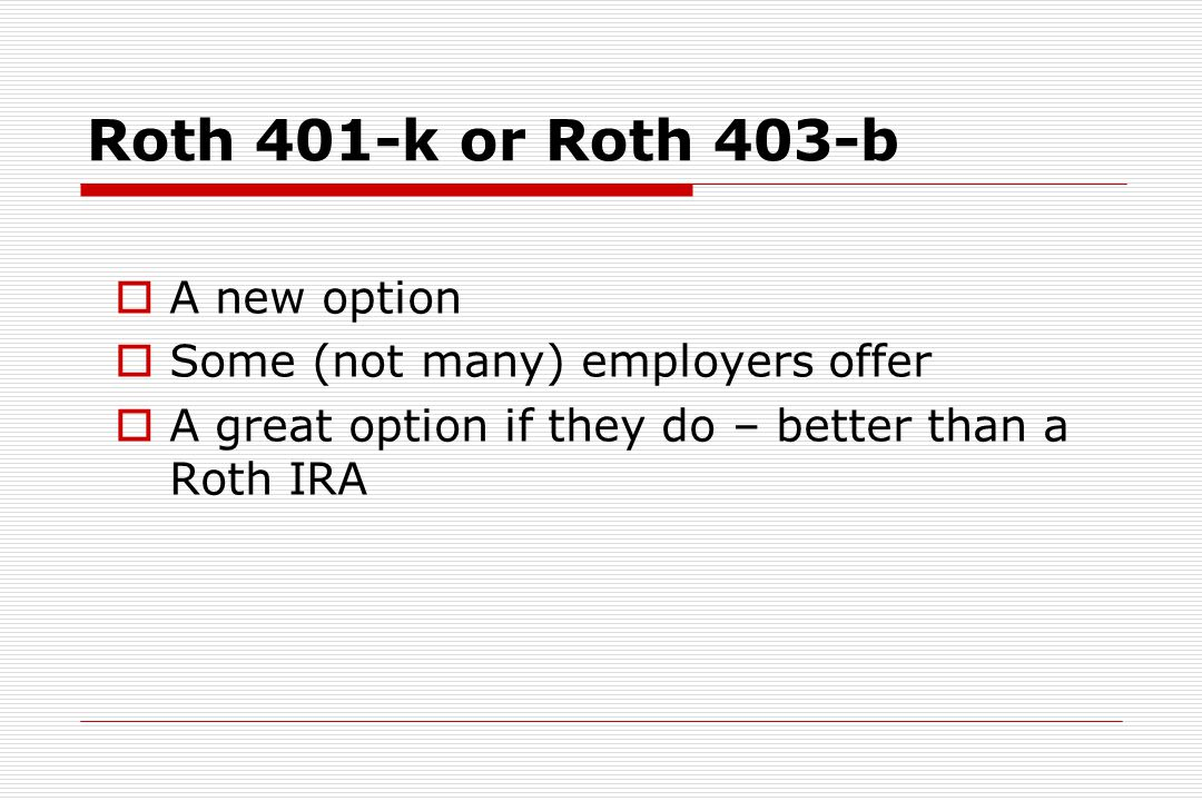 Roth IRA for Residents / Students  Residents have a 3-5 year window to cash in (maybe even as students, if you have a job) (unless your residency offers a Roth-401k)  Can invest $5,000 each year of residency ($10,000 if married)