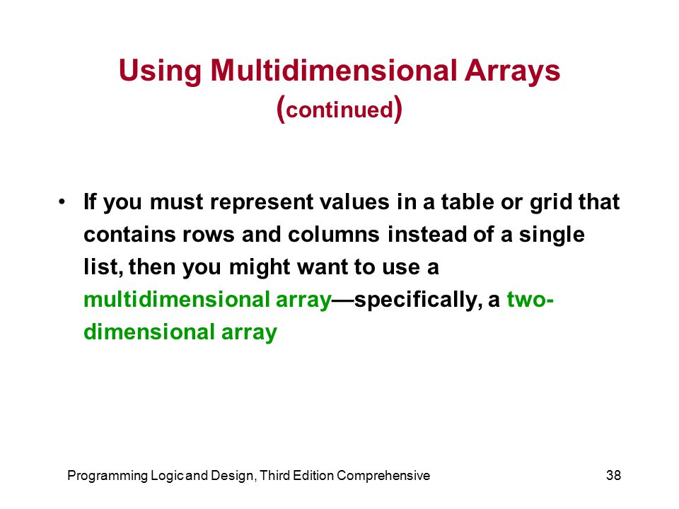 Programming Logic and Design, Third Edition Comprehensive38 Using Multidimensional Arrays ( continued ) If you must represent values in a table or gri