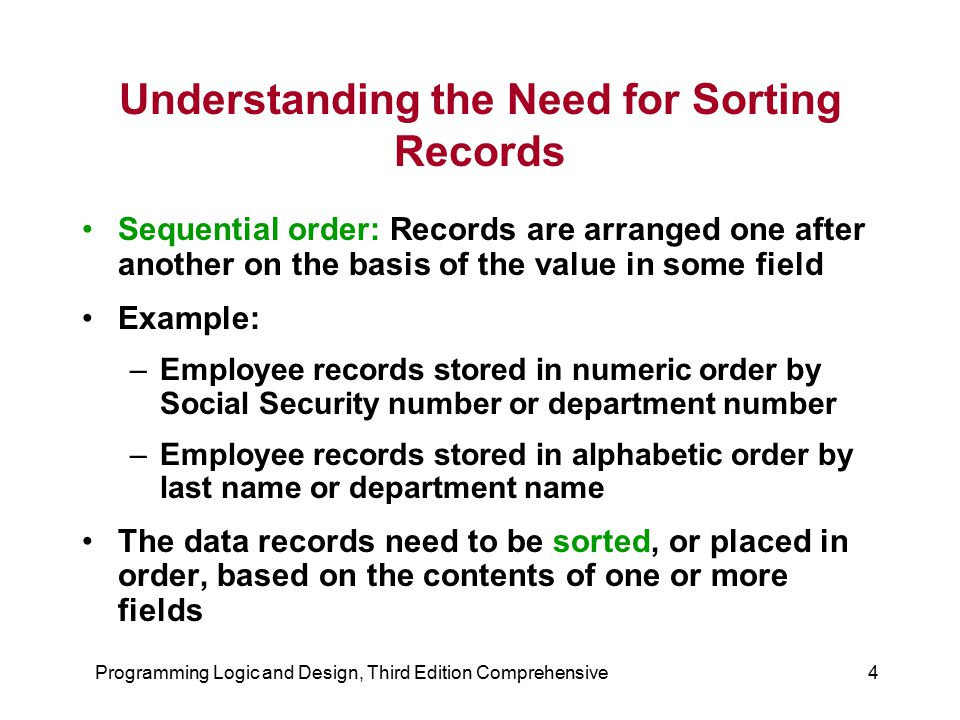 Programming Logic and Design, Third Edition Comprehensive4 Understanding the Need for Sorting Records Sequential order: Records are arranged one after