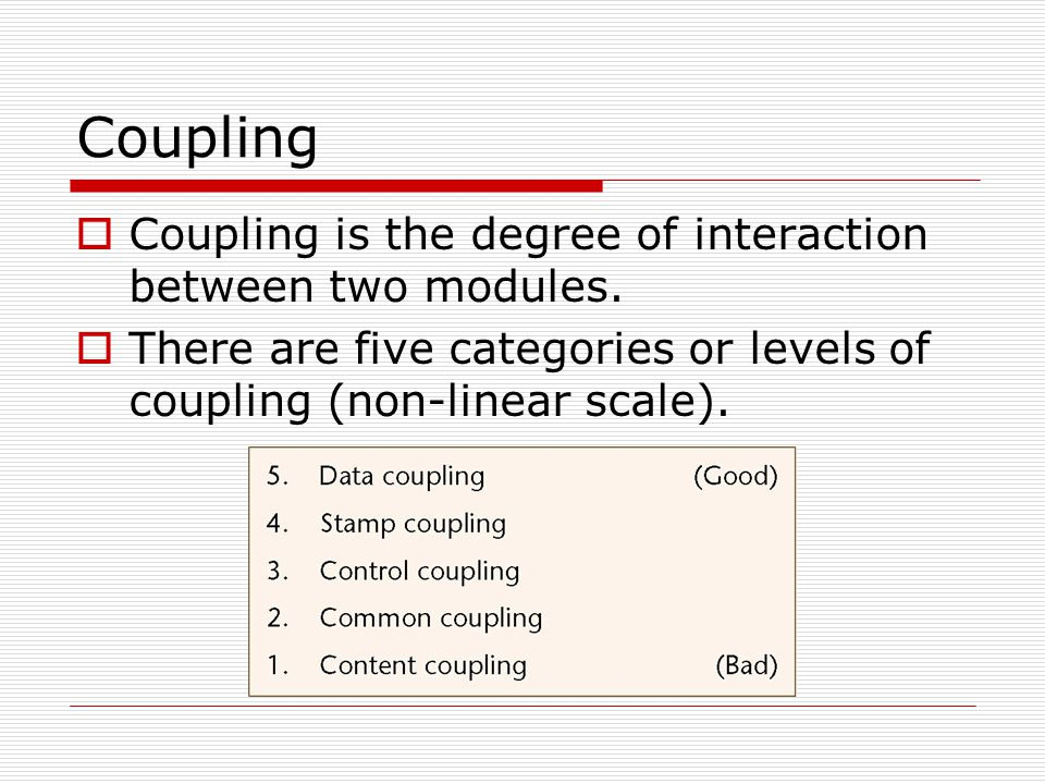 Coupling  Coupling is the degree of interaction between two modules.  There are five categories or levels of coupling (non-linear scale).