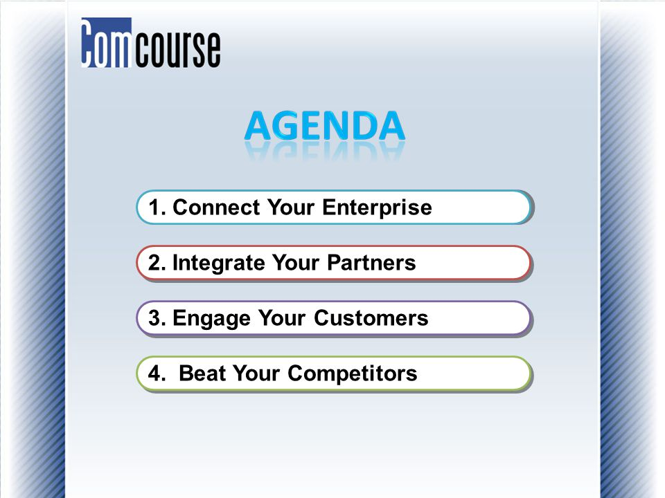 1. Connect Your Enterprise 2. Integrate Your Partners 3. Engage Your Customers 4. Beat Your Competitors