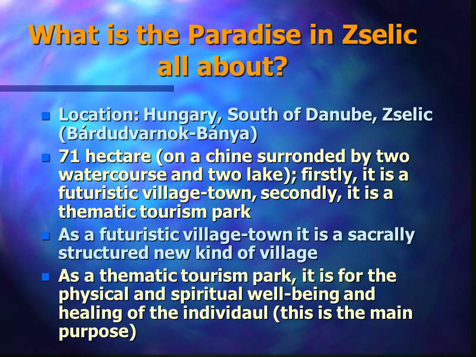 Housing the physical existence n Hotels with optional space-structure (where all kind of styles will be available) n Optional intelligent family houses (refined housing) n Community squares, which fulfil all kinds of existential demands n Caring for the physical body, healing (House of the body: swimming-pools and its services) n Serving special foods and drinks at special places n Squares to look at each other
