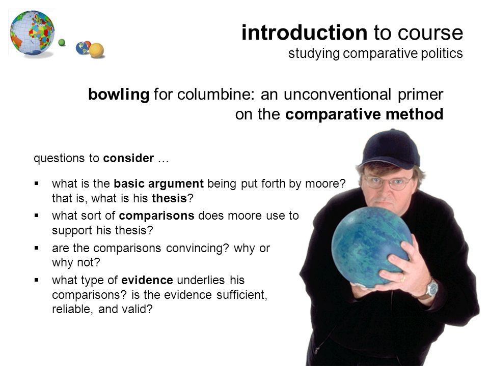 bowling for columbine: an unconventional primer on the comparative method questions to consider …  what is the basic argument being put forth by moore.