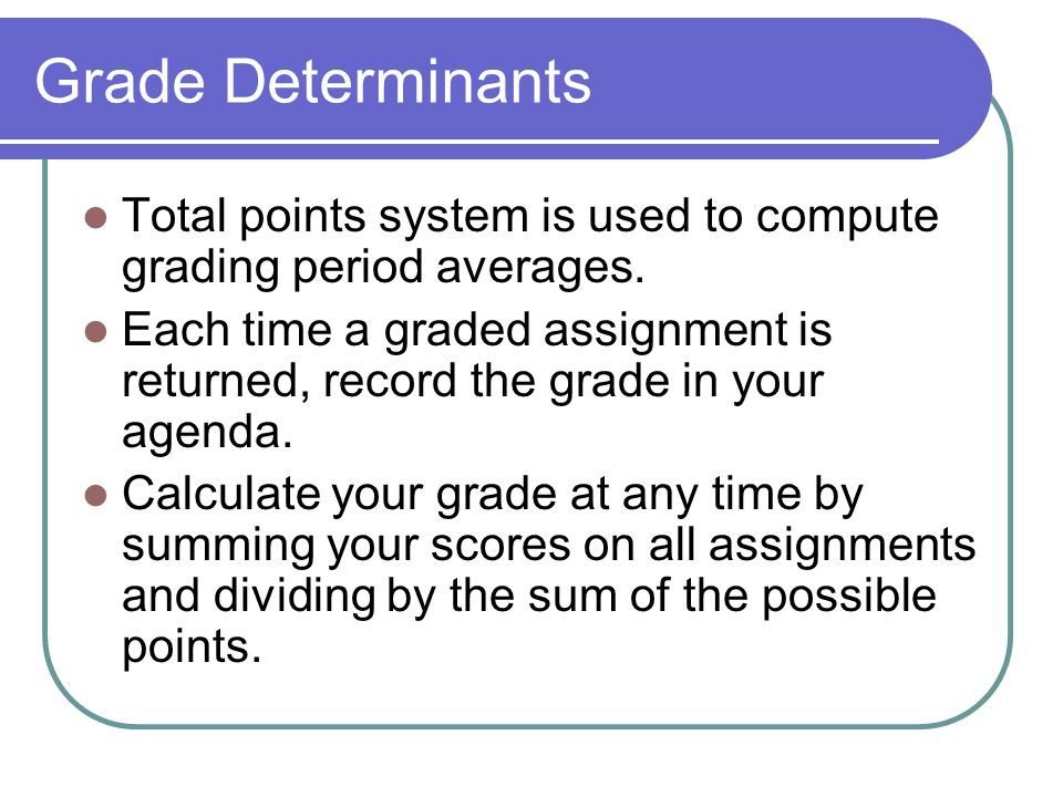 Grade Determinants Total points system is used to compute grading period averages.