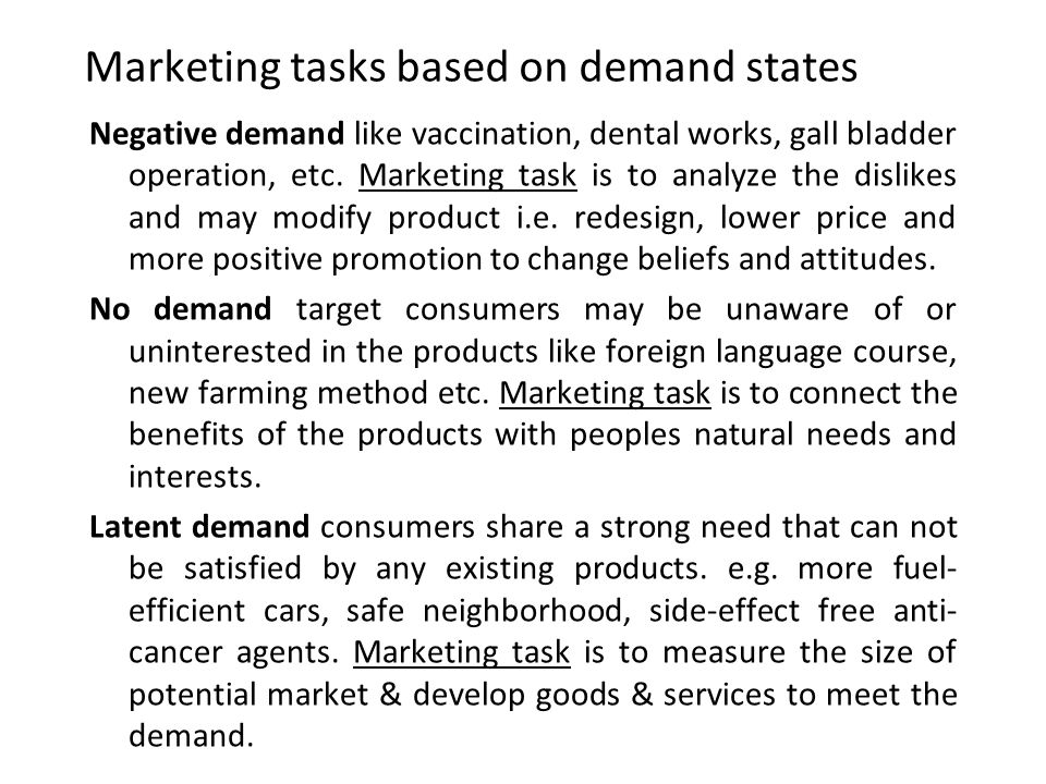 Marketing tasks based on demand states Negative demand like vaccination, dental works, gall bladder operation, etc. Marketing task is to analyze the d