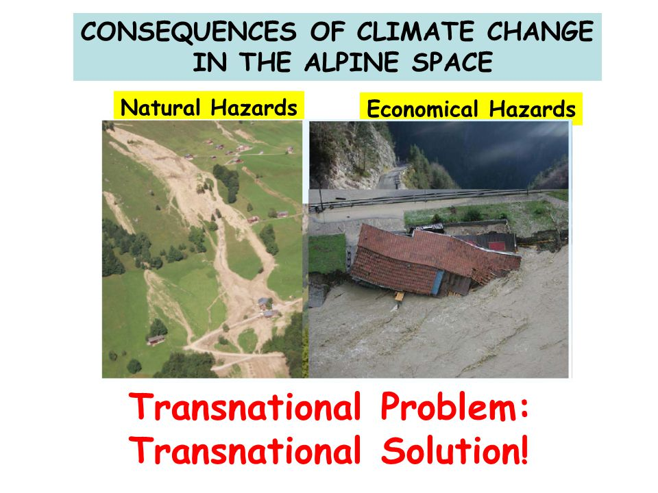 CONSEQUENCES OF CLIMATE CHANGE IN THE ALPINE SPACE Transnational Problem: Transnational Solution! Natural Hazards Economical Hazards