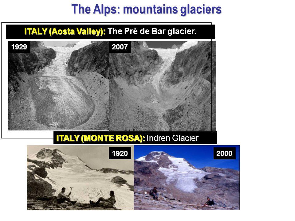 ITALY (Aosta Valley): ITALY (Aosta Valley): The Prè de Bar glacier. 19292007 19202000 ITALY (MONTE ROSA): ITALY (MONTE ROSA): Indren Glacier The Alps: