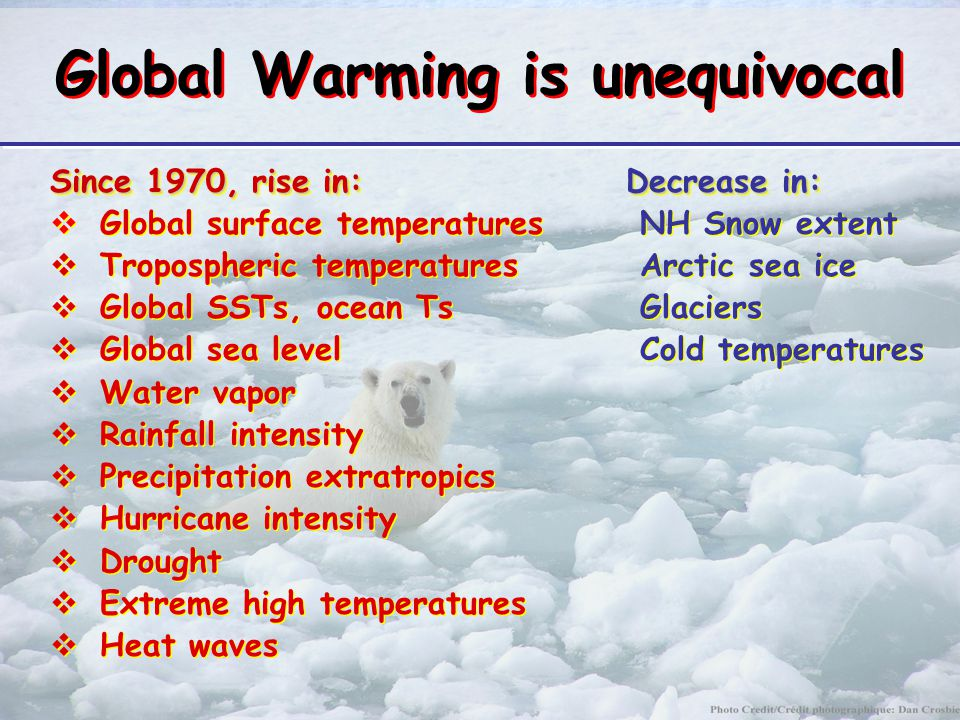 Global Warming is unequivocal Since 1970, rise in:Decrease in:  Global surface temperatures NH Snow extent  Tropospheric temperatures Arctic sea ice  Global SSTs, ocean Ts Glaciers  Global sea level Cold temperatures  Water vapor  Rainfall intensity  Precipitation extratropics  Hurricane intensity  Drought  Extreme high temperatures  Heat waves Since 1970, rise in:Decrease in:  Global surface temperatures NH Snow extent  Tropospheric temperatures Arctic sea ice  Global SSTs, ocean Ts Glaciers  Global sea level Cold temperatures  Water vapor  Rainfall intensity  Precipitation extratropics  Hurricane intensity  Drought  Extreme high temperatures  Heat waves