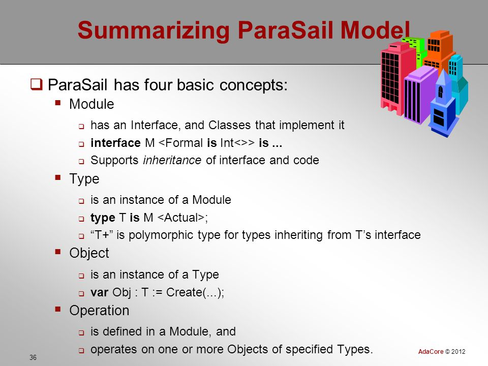 AdaCore © 2012 36 Summarizing ParaSail Model  ParaSail has four basic concepts:  Module  has an Interface, and Classes that implement it  interface M > is...