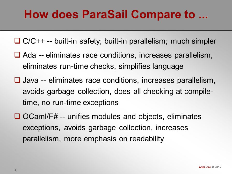 AdaCore © 2012 39 How does ParaSail Compare to...