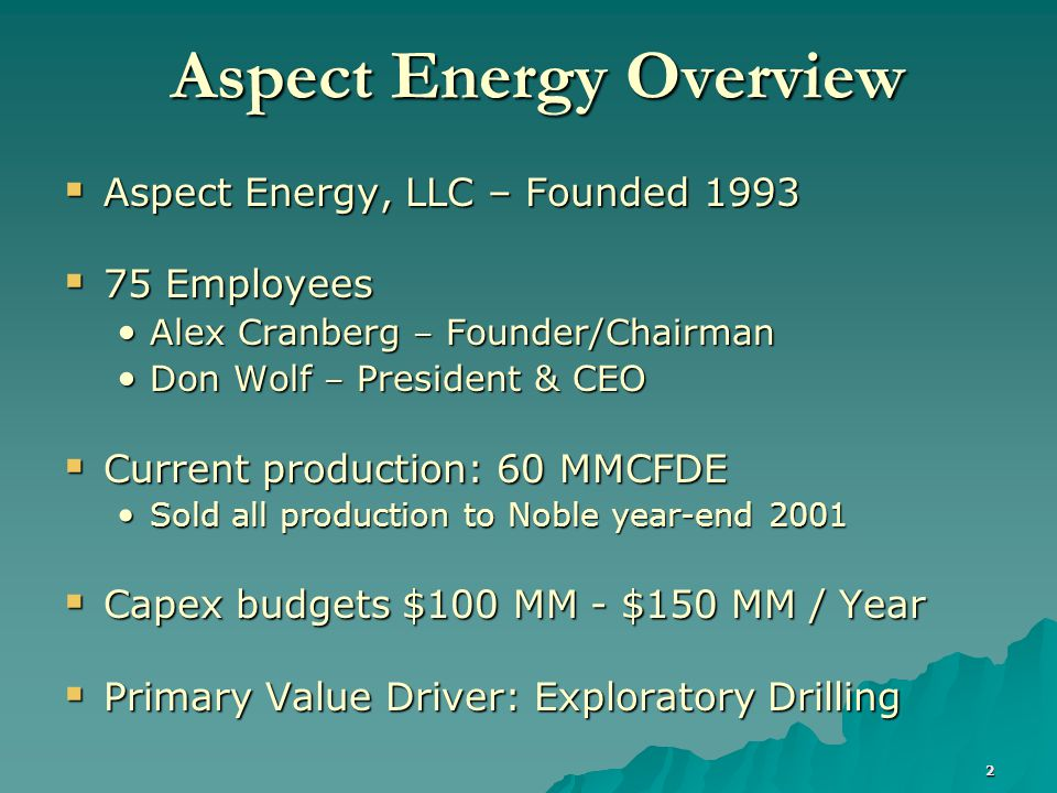 3 Aspect's Exploration  Focus: Upper Texas Gulf Coast / South Louisiana Complex structure Complex structure Multiple objectives Multiple objectives Direct seismic detection Direct seismic detection Hi flow rates / Henry Hub prices Hi flow rates / Henry Hub prices Land availability Land availability  Corporate Positioning Drilled 400 gross wells in region since 1997 Drilled 400 gross wells in region since 1997 Greater than 60% success rate Greater than 60% success rate Dominant seismic position – 12,000 square miles Dominant seismic position – 12,000 square miles Over 300 prospects in inventory Over 300 prospects in inventory Extensive database Extensive database