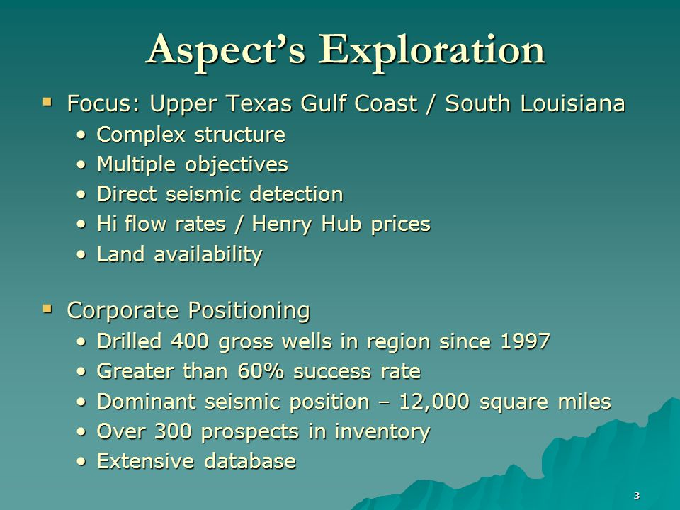 4 Texas Louisiana Houston New Orleans Aspect has an Industry-Leading Library of Gulf Coast 3-D Seismic Data Seismic Data Total Proprietary: 2,561 Sq.