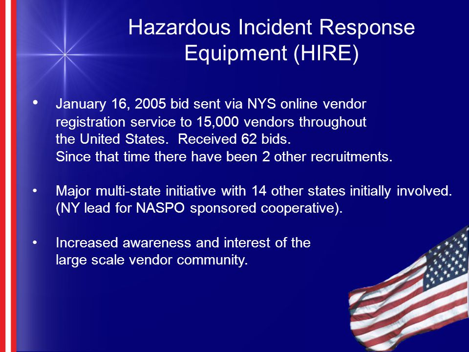 Hazardous Incident Response Equipment (HIRE) January 16, 2005 bid sent via NYS online vendor registration service to 15,000 vendors throughout the United States.
