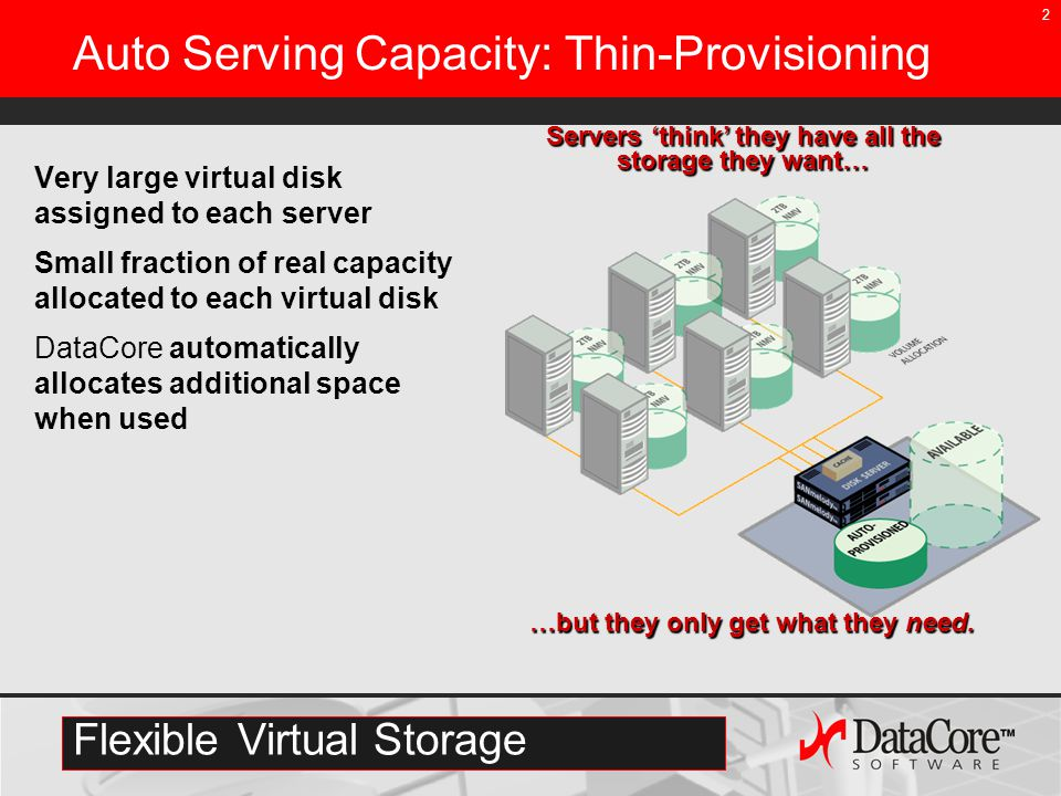 2 Auto Serving Capacity: Thin-Provisioning Very large virtual disk assigned to each server Small fraction of real capacity allocated to each virtual disk DataCore automatically allocates additional space when used Servers 'think' they have all the storage they want… …but they only get what they need.