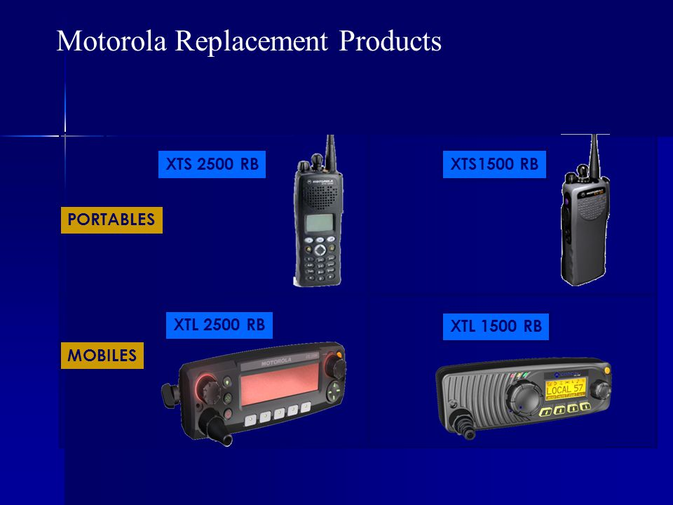 XTS 2500 RB XTL 1500 RB XTL 2500 RB XTS1500 RB PORTABLES MOBILES Motorola Replacement Products