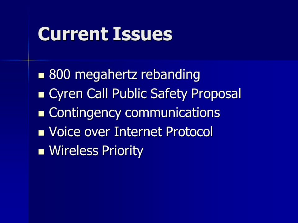 Current Issues 800 megahertz rebanding 800 megahertz rebanding Cyren Call Public Safety Proposal Cyren Call Public Safety Proposal Contingency communications Contingency communications Voice over Internet Protocol Voice over Internet Protocol Wireless Priority Wireless Priority