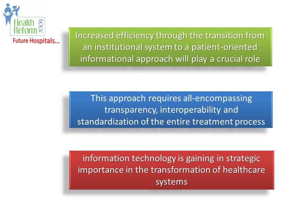 This approach requires all-encompassing transparency, interoperability and standardization of the entire treatment process information technology is gaining in strategic importance in the transformation of healthcare systems Increased efficiency through the transition from an institutional system to a patient-oriented informational approach will play a crucial role