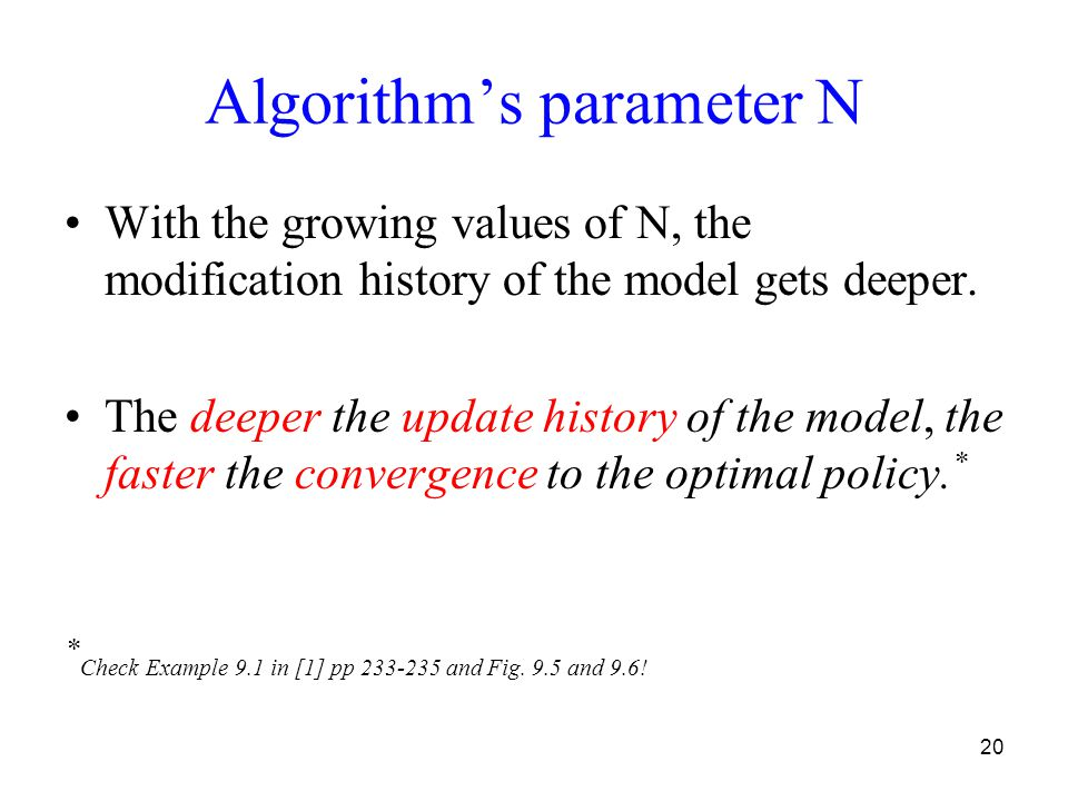 20 Algorithm's parameter N With the growing values of N, the modification history of the model gets deeper. The deeper the update history of the model