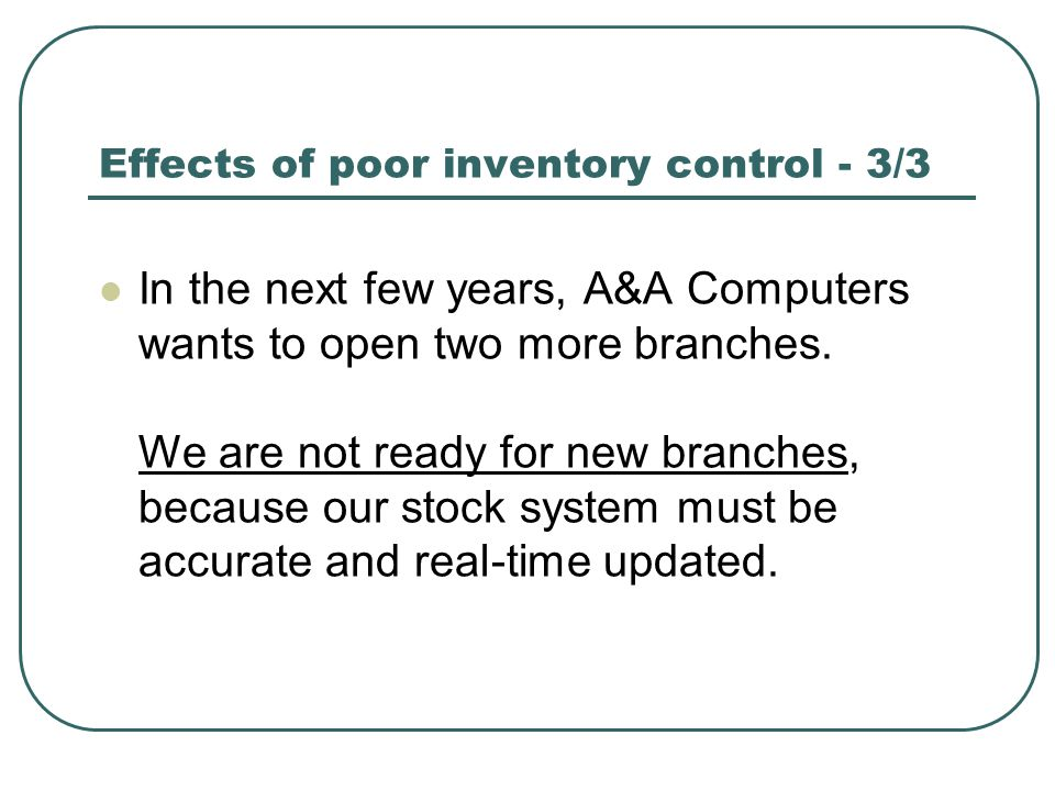 Effects of poor inventory control - 3/3 In the next few years, A&A Computers wants to open two more branches.