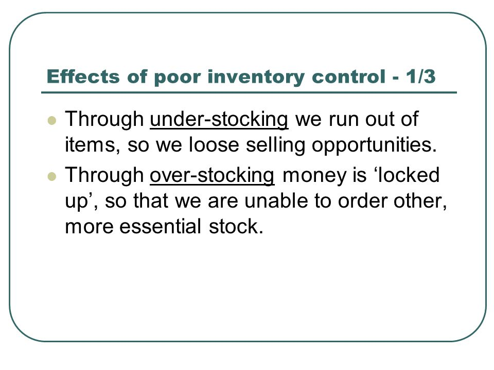 Effects of poor inventory control - 1/3 Through under-stocking we run out of items, so we loose selling opportunities. Through over-stocking money is