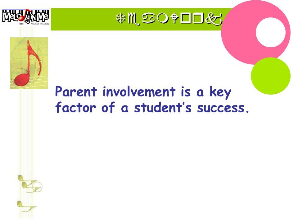 TeamWork Parent involvement is a key factor of a student's success.