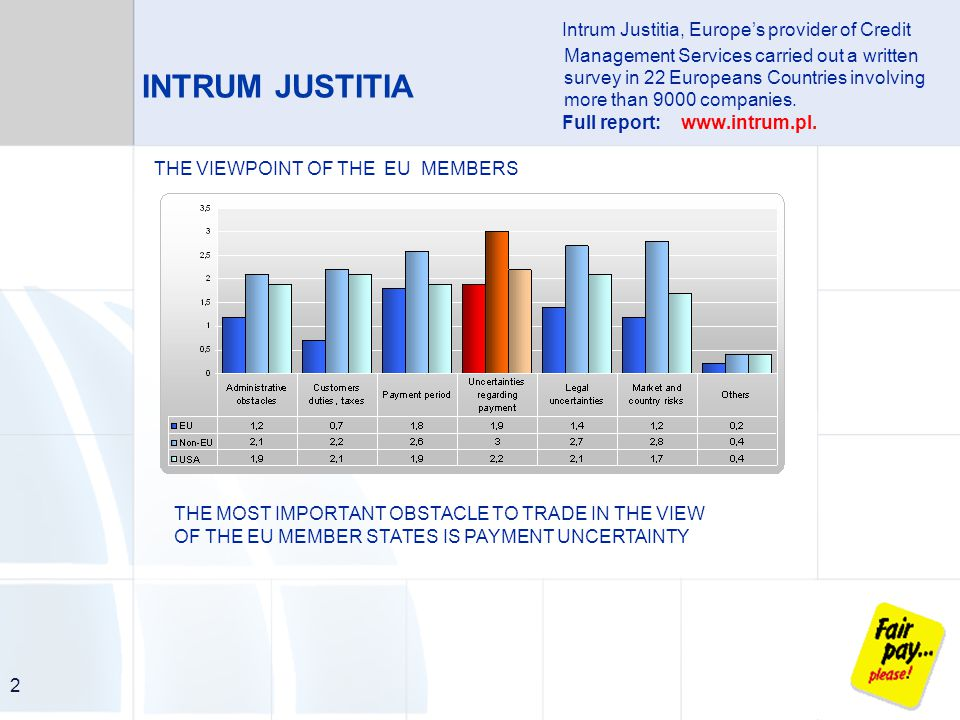 2 INTRUM JUSTITIA THE VIEWPOINT OF THE EU MEMBERS THE MOST IMPORTANT OBSTACLE TO TRADE IN THE VIEW OF THE EU MEMBER STATES IS PAYMENT UNCERTAINTY Intrum Justitia, Europe's provider of Credit Management Services carried out a written survey in 22 Europeans Countries involving more than 9000 companies.