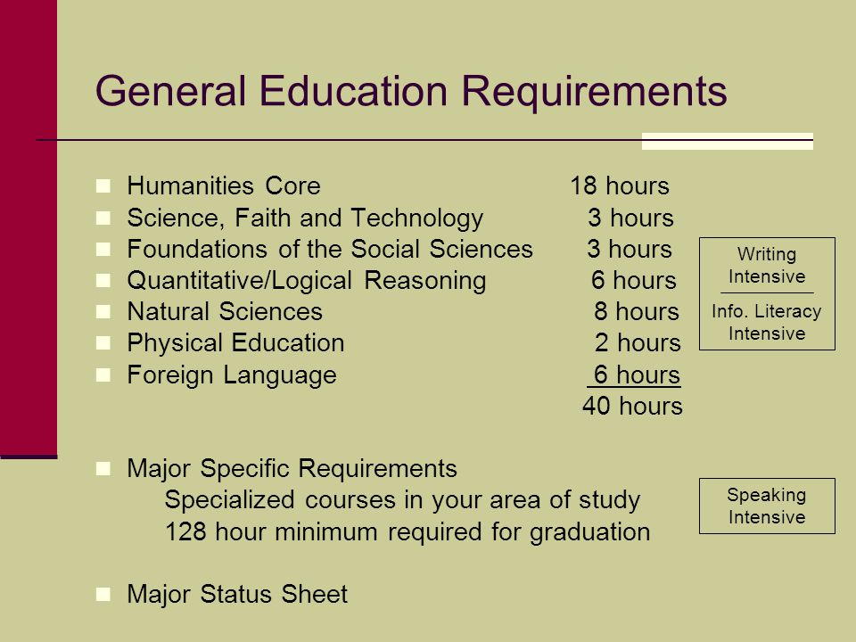 General Education Requirements Humanities Core 18 hours Science, Faith and Technology 3 hours Foundations of the Social Sciences 3 hours Quantitative/