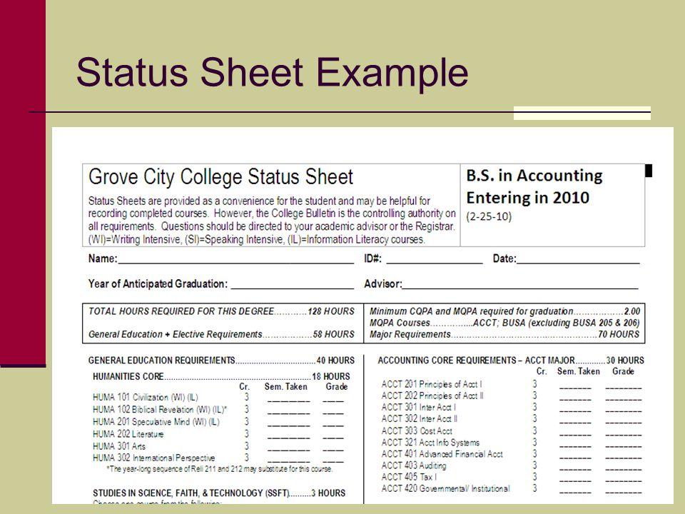 Status Sheet Example