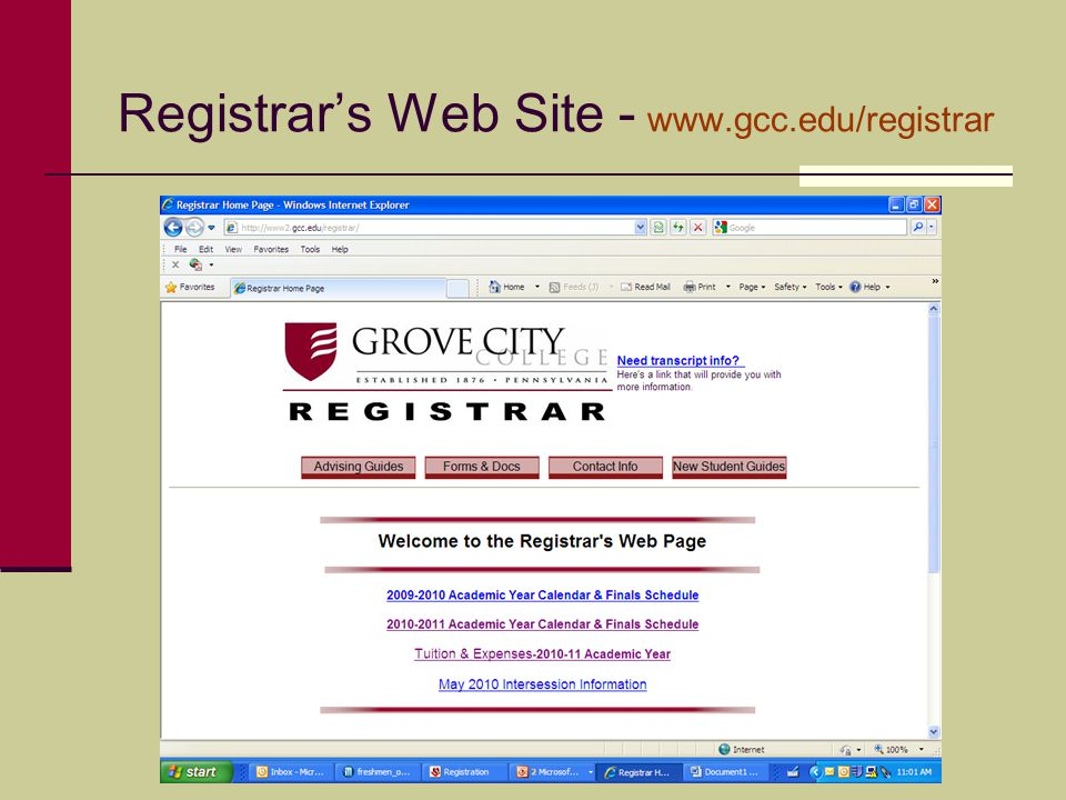 Registrar's Web Site - www.gcc.edu/registrar