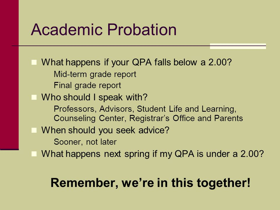 Academic Probation What happens if your QPA falls below a 2.00? Mid-term grade report Final grade report Who should I speak with? Professors, Advisors