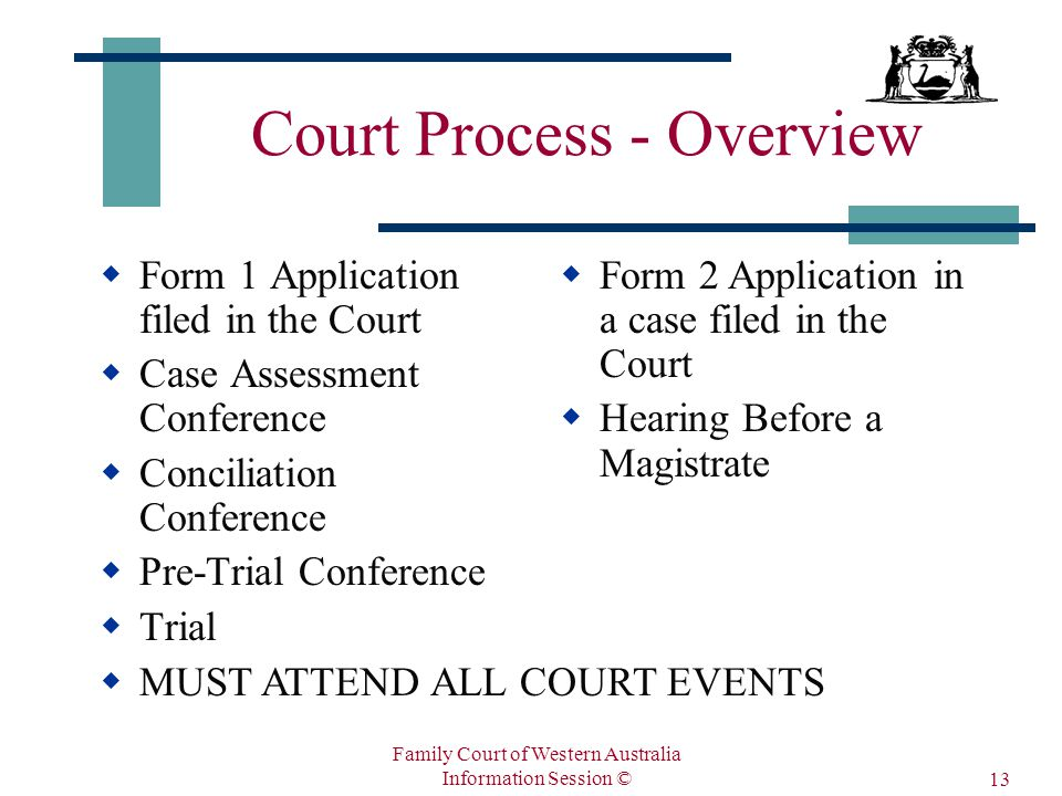 Family Court of Western Australia Information Session © 13 Court Process - Overview  Form 1 Application filed in the Court  Case Assessment Conference  Conciliation Conference  Pre-Trial Conference  Trial  Form 2 Application in a case filed in the Court  Hearing Before a Magistrate  MUST ATTEND ALL COURT EVENTS