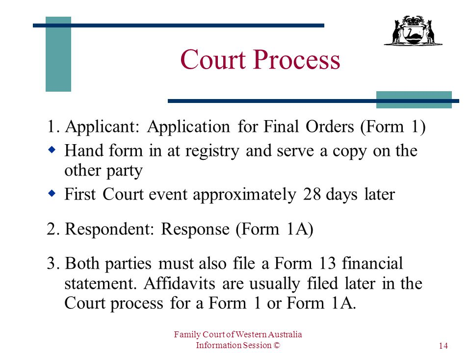 Family Court of Western Australia Information Session © 14 Court Process 1.