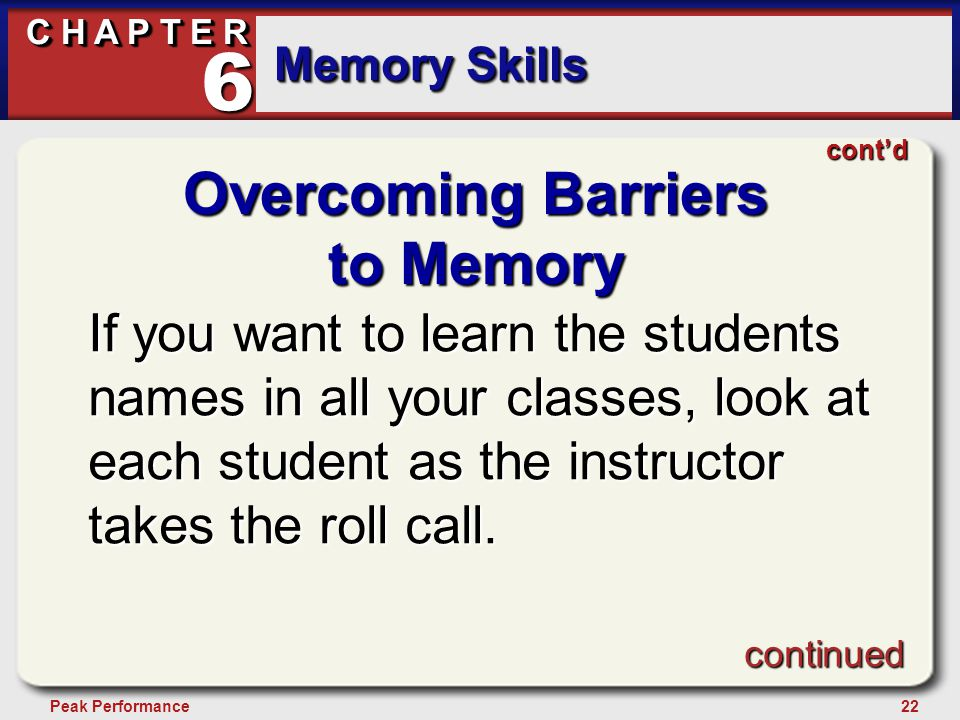 22Peak Performance C H A P T E R Memory Skills 6 Overcoming Barriers to Memory If you want to learn the students names in all your classes, look at each student as the instructor takes the roll call.