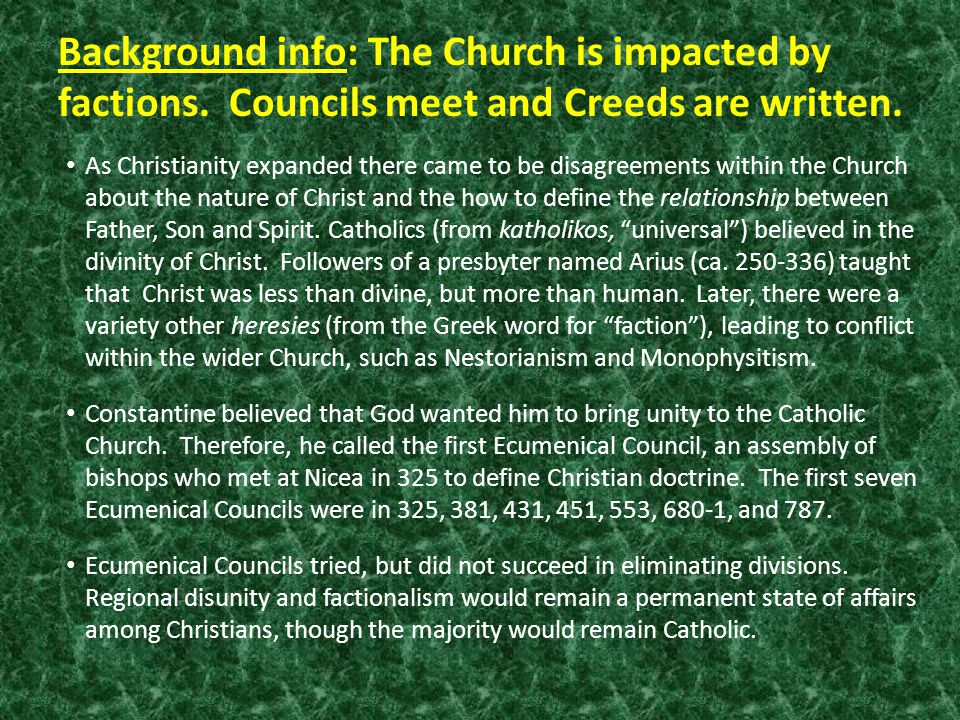 Background info: The Church is impacted by factions.