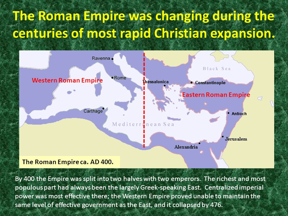 The Roman Empire was changing during the centuries of most rapid Christian expansion.