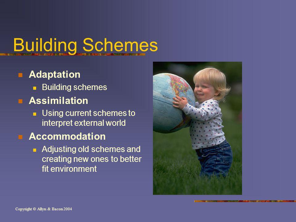 Copyright © Allyn & Bacon 2004 Building Schemes Adaptation Building schemes Assimilation Using current schemes to interpret external world Accommodati