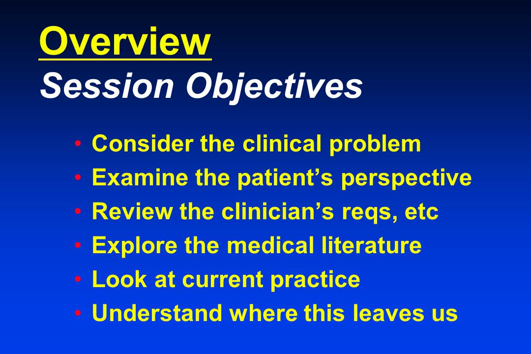 Overview Session Objectives Consider the clinical problem Examine the patient's perspective Review the clinician's reqs, etc Explore the medical literature Look at current practice Understand where this leaves us