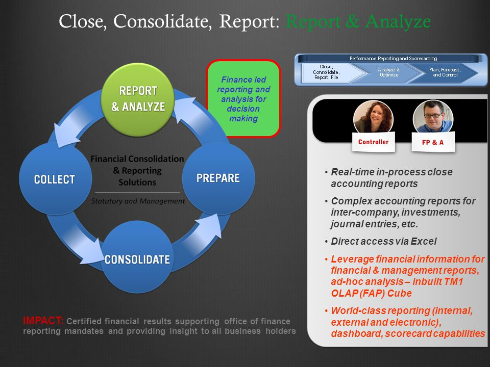Close, Consolidate, Report: Report & Analyze IMPACT: Certified financial results supporting office of finance reporting mandates and providing insight to all business holders Real-time in-process close accounting reports Complex accounting reports for inter-company, investments, journal entries, etc.