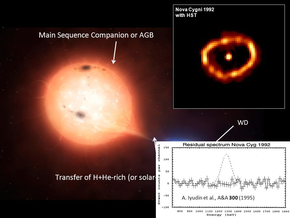 5 Main Sequence Companion or AGB Transfer of H+He-rich (or solar-like) material WD Nova Cygni 1992 with HST A.