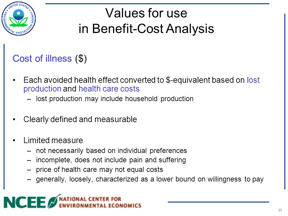 13 Values for use in Benefit-Cost Analysis Cost of illness ($) Each avoided health effect converted to $-equivalent based on lost production and health care costs –lost production may include household production Clearly defined and measurable Limited measure –not necessarily based on individual preferences –incomplete, does not include pain and suffering –price of health care may not equal costs –generally, loosely, characterized as a lower bound on willingness to pay
